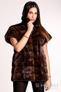 Franca - brown Mink waistcoat - Jolie Collection