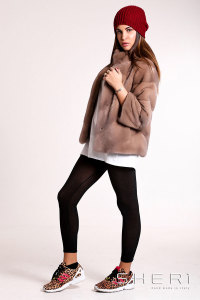 RF549 - beige - brown Mink jacket - Jolie Collection